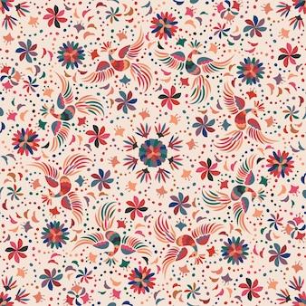 鳥と花とメキシコのシームレスなパターン。