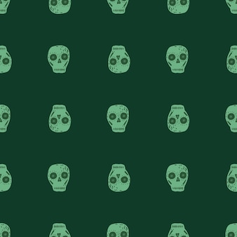 Mexican seamless scary pattern with skull. dia de los muertos