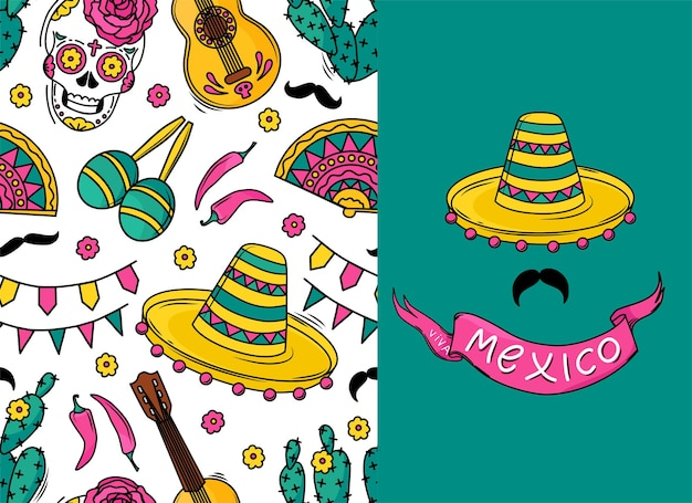 Mexican seamless vector pattern with sugar skulls, flowers, guitar, cacti, mustache on white background. a pattern for a holiday. viva mexico postcard.