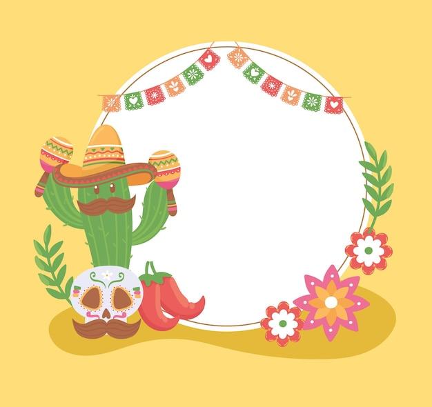 멕시코 두개골과 선인장