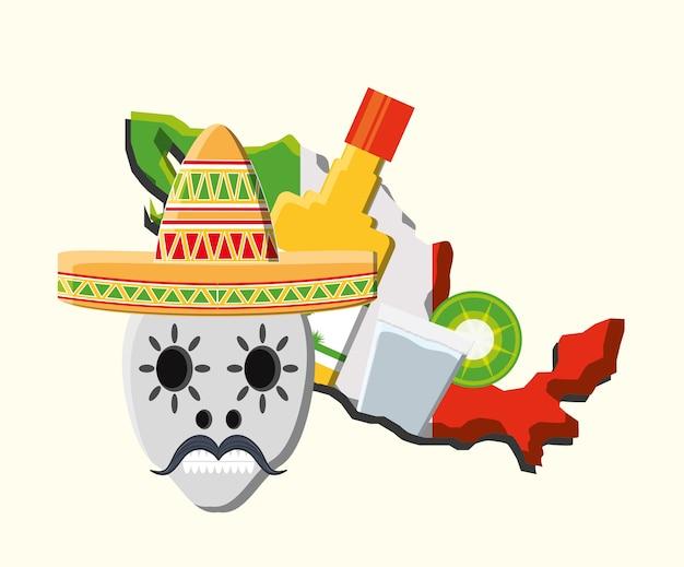 白い背景の上にテキーラのボトルとメキシコの頭蓋骨と国の地図