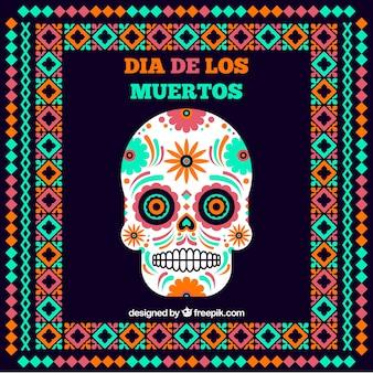 Мексиканский фон черепа с рамкой в плоском дизайне