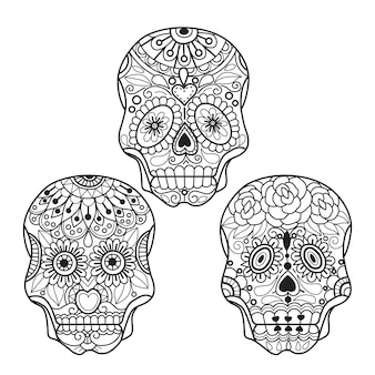 Mexican skull coloring pages for adults