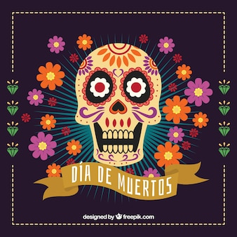 Mexican skull flower background