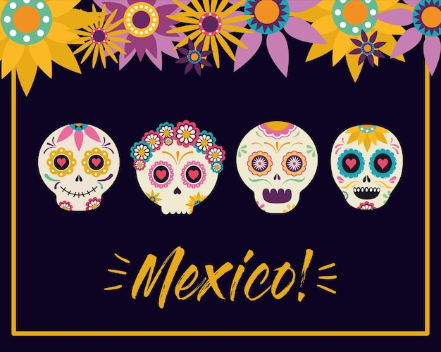 Mexican skull heads with flowers design, mexico culture theme