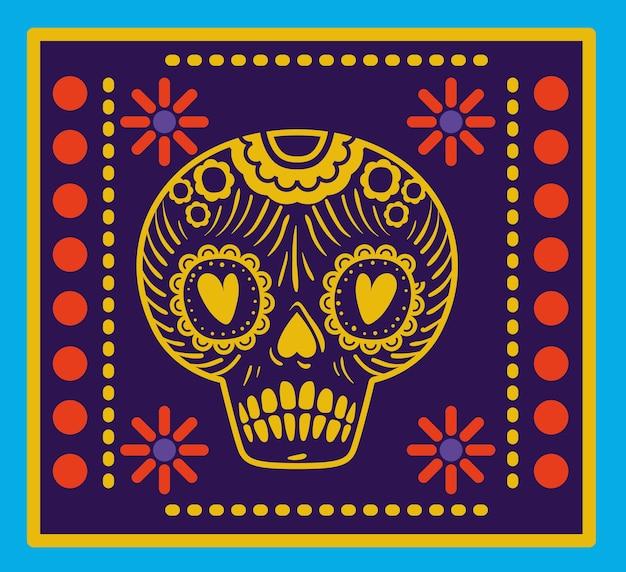青色の背景のデザイン上のフレームでメキシコの頭蓋骨。