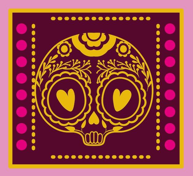 紫色の背景デザインのフレームにメキシコの頭蓋骨。