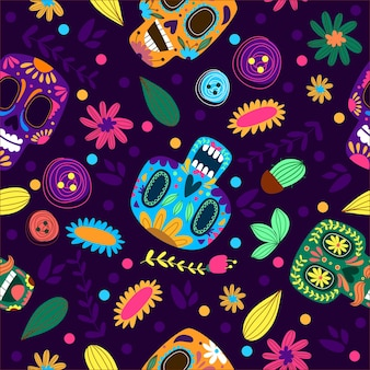Mexican skull pattern illustration