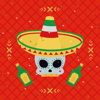 모자를 쓰고 멕시코 해골