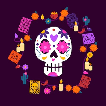 Mexican skull with decorative elements and lights