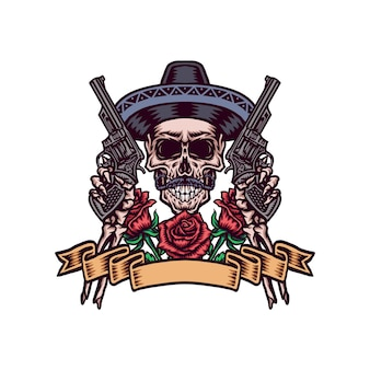 Mexican skull with guns, hand drawn line with digital color