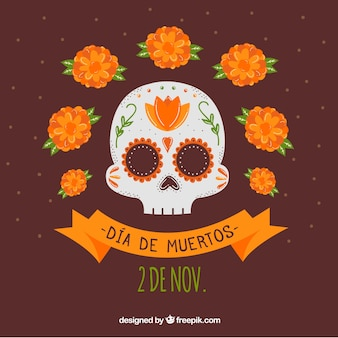 Mexican skull with hand drawn style
