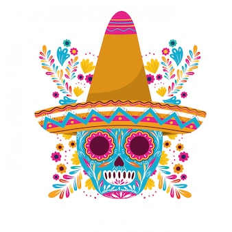 Mexican skull with hat on white card