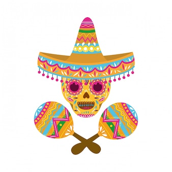 Mexican skull with maraca isolated icon