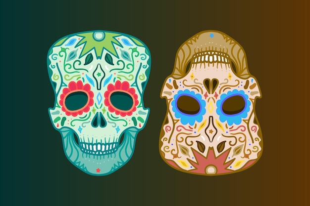 印刷、ステッカー、ラップ、ポスター、挨拶用の飾りが付いたメキシコの頭蓋骨。死の日。ベクター