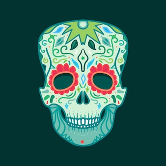 Mexican skull with ornament for print, sticker, wrap, poster and greeting.