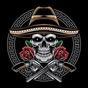 Mexican skull with pistol isolated on black