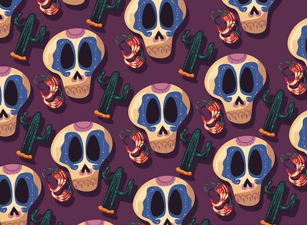 Mexican skulls cactus and chillis