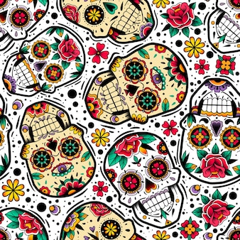Mexican skulls seamless pattern