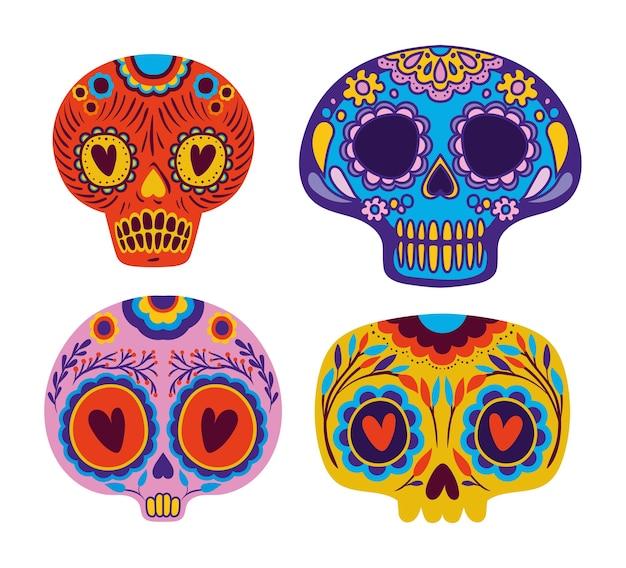 Мексиканские черепа набор дизайн.