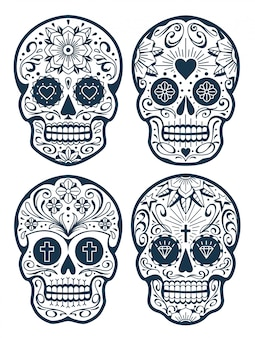 Mexican skulls with patterns. old school tattoo style sugar skulls. vector skulls collection.