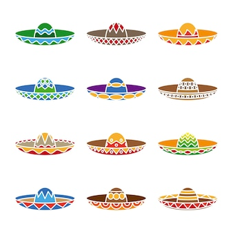 Mexican sombrero color flat set. fiesta party, latino symbol,  traditional hat.