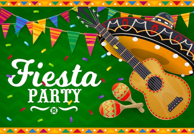 Mexican sombrero, guitar and maracas vector banner.