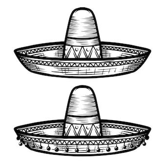 白い背景で隔離のタトゥースタイルのメキシコのソンブレロ。ポスター、たわごと、カード、エンブレム、サイン、バッジのデザイン要素。
