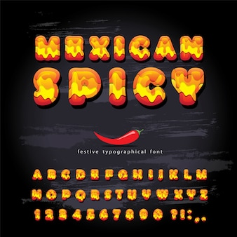 Mexican spicy cartoon font.