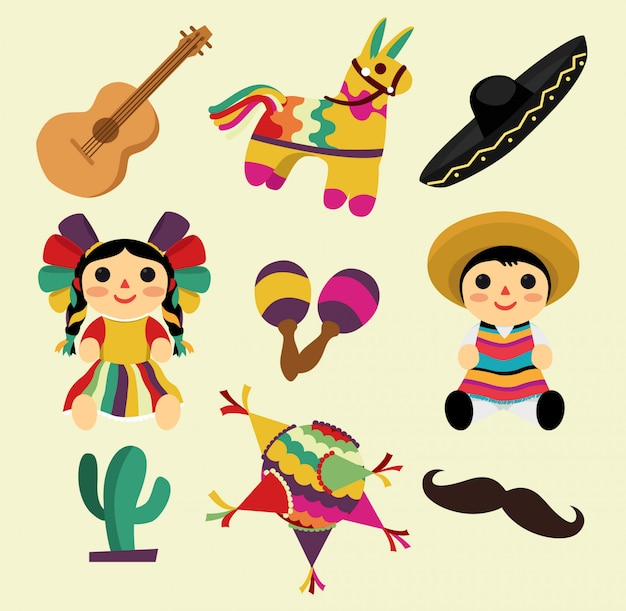 Mexican stuff, pinata, hats, toys and instruments