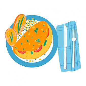 Мексиканский стиль завтрак лепешка овощной начинкой и куриное мясо, тост хлеб лежал плита, изолированные на белом, карикатура иллюстрации.
