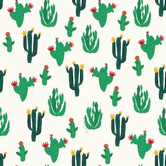 メキシコ風のシームレスなパターンのサボテン白い背景フォークアート手描き