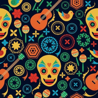 Mexican style seamless pattern flowers painted skulls on black background folk art hand drawing