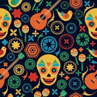 メキシコ風のシームレスなパターンの花は黒い背景に頭蓋骨を描いた民芸手描き