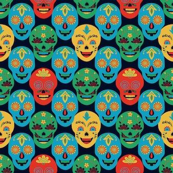 メキシコ風のシームレスなパターンは、黒の背景に頭蓋骨を描いた民芸手描き