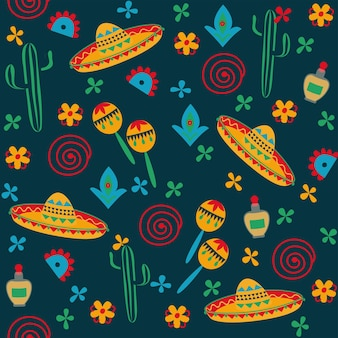メキシコ風シームレスパターンソンブレロサボテン黒背景民芸手描き