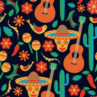 Mexican style seamless pattern sombrero painted skulls on black background folk art hand drawing