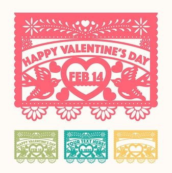 멕시코 스타일 발렌타인 컷 아웃 종이 세트
