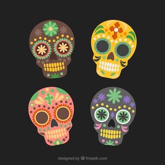 Mexican sugar skull, dia de los muertos set