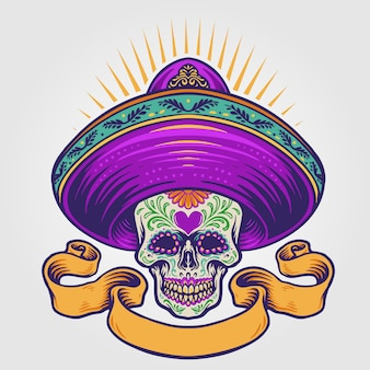 Mexican sugar skull illustration with banner