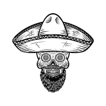 솜브레로에 멕시코 설탕 두개골입니다. 죽은 자의 날 테마. 포스터, 티셔츠, 상징, 기호 디자인 요소입니다.