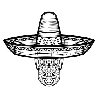 Mexican sugar skull in sombrero. day of the dead theme. design element for poster, t shirt, emblem, sign.