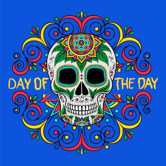 Mexican sugar skull with floral pattern, day of the day   illustration