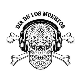 Мексиканский сахарный череп с наушниками и скрещенными костями. день смерти.