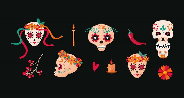 Mexican sugar skulls, different cartoon characters.