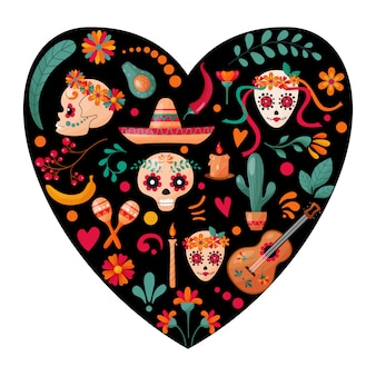 Mexican sugar skulls, floral and fruits decoration on the dark heart form background.