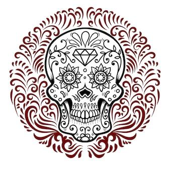 円形の花柄の背景を持つメキシコの砂糖の頭蓋骨。死霊のえじき。
