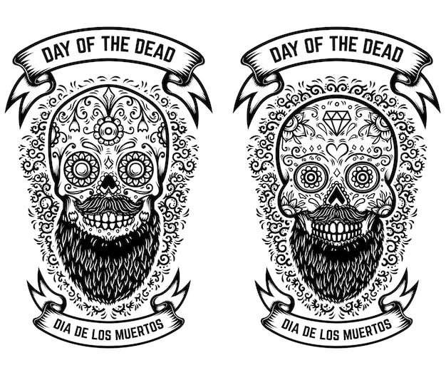 Mexican sugar skulls with floral pattern background. day of the dead.