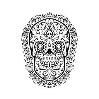 花柄の背景を持つメキシコの砂糖の頭蓋骨。死霊のえじき。