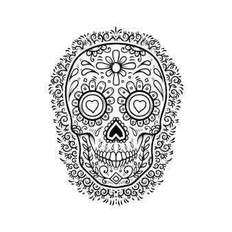 Мексиканские сахарные черепа с фоном цветочного узора. день смерти.